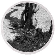 Black And White Roots Round Beach Towel