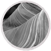 Black And White Sandstone Waves Round Beach Towel