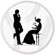 Black And White Silhouette Of A Man Giving A Woman A Flower Round Beach Towel