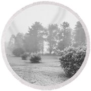 Black And White Snow Landscape Round Beach Towel