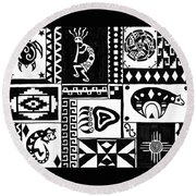 Black And White Southwest Sampler Round Beach Towel
