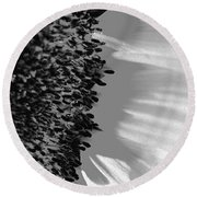 Black And White Sunflower Round Beach Towel