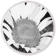 Black And White Sunflower Face Round Beach Towel