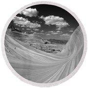 Black And White Swirling Landscape Round Beach Towel