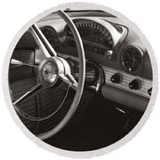 Black And White Thunderbird Steering Wheel And Dash Round Beach Towel