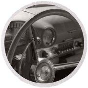 Black And White Thunderbird Steering Wheel  Round Beach Towel