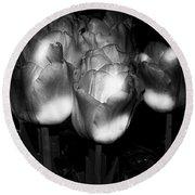Black And White Tulips Round Beach Towel