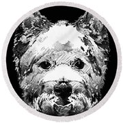 Black And White West Highland Terrier Dog Art Sharon Cummings Round Beach Towel