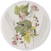 Black And Yellow Warblers Round Beach Towel