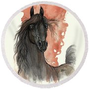 Black Arabian Horse 2013 11 13 Round Beach Towel