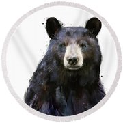 Black Bear Round Beach Towel by Amy Hamilton