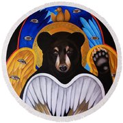 Black Bear Seraphim Round Beach Towel