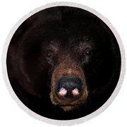 Black Bear Sniff Round Beach Towel