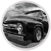 Black Beauty - 1956 Ford F100 Round Beach Towel