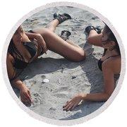 Black Bikinis 11 Round Beach Towel
