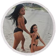 Black Bikinis 18 Round Beach Towel