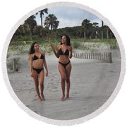 Black Bikinis 29 Round Beach Towel