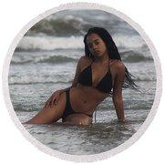 Black Bikinis 35 Round Beach Towel