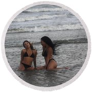 Black Bikinis 37 Round Beach Towel