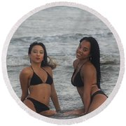 Black Bikinis 38 Round Beach Towel
