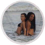Black Bikinis 40 Round Beach Towel