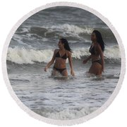 Black Bikinis 41 Round Beach Towel
