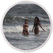 Black Bikinis 42 Round Beach Towel