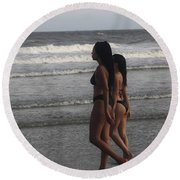 Black Bikinis 43 Round Beach Towel