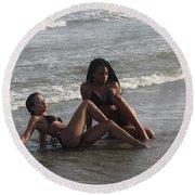Black Bikinis 48 Round Beach Towel