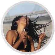 Black Bikinis 54 Round Beach Towel