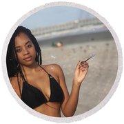 Black Bikinis 57 Round Beach Towel