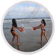 Black Bikinis 61 Round Beach Towel