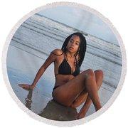 Black Bikinis 64 Round Beach Towel