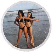 Black Bikinis 65 Round Beach Towel