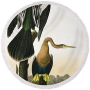 Black Billed Darter Round Beach Towel by John James Audubon