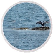 Black Bird Round Beach Towel
