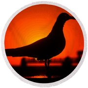 Black Bird Red Sky Round Beach Towel