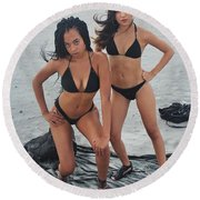 Black Bkinis 3 Round Beach Towel