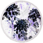 Black Blooms I I Round Beach Towel