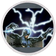 Black Bolt Round Beach Towel