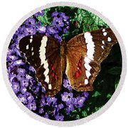 Black Butterfly On Heliotrope Round Beach Towel
