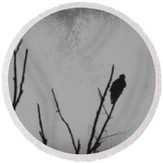 Black Buzzard Moon Round Beach Towel