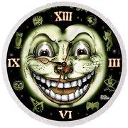 Black Cat 13 Halloween Clock Round Beach Towel