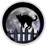 Black Cat And Full Moon 3 Round Beach Towel