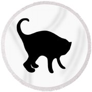 Black Cat Round Beach Towel