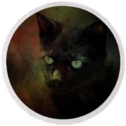 Black Cat Portrait Round Beach Towel