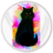 Black Cat Rainbow Sky Round Beach Towel