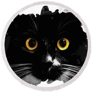 Black Cat, Yellow Eyes Round Beach Towel