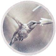 Black-chinned Hummingbird Round Beach Towel