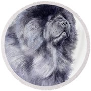 Black Chow Chow  Round Beach Towel